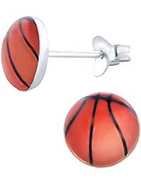 So Chic Joyas© pendientes niño redondo 7 mm balón baloncesto naranja ...