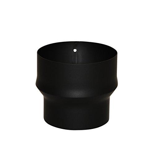 Kamino Flam 331823 Erweiterung, Rohrerweiterung aus Stahl, hitzebeständige Senotherm Beschichtung, geprüft nach Norm EN 1856-2, Schwarz, zum zum Anschluss von 120 mm in ein 150 mm Rohr