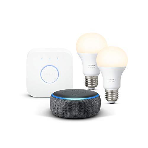 Das neue Echo Dot (3. Gen.), Anthrazit Stoff + Philips Hue White Starter Set