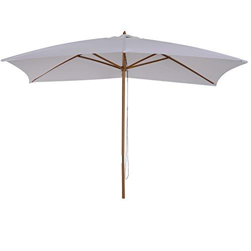 Outsunny Parasol Droit rectangulaire de Jardin Grande Taille dim. 3L x 2l x 2,5H m Blanc