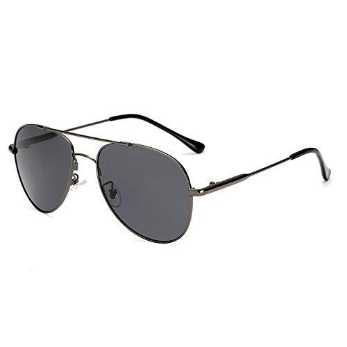 Gläser Metallrahmen Männer Sonnenbrillen Polarisierte Mode Sonnenbrillen Farbwechsel Spiegel Brillen (Color : 02Dark Sliver, Size : Kostenlos)