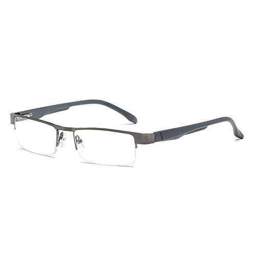 Fogun Lesebrillen, die überall haften, Sie überall begleiten, Halbrandbrille Stärken Breit Lesebrill (2.0, Grau)