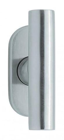 Fenstergriff Modell Cross, Edelstahl poliert, Oliven oval, mit Rasterung, Bolzenlänge:32
