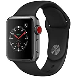 Apple Watch Series 3 LTE /4G 38mm Aluminiumboîte Space Gris Sportbracelet Noir