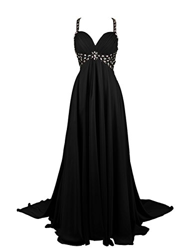 Dresstells, Robe de soirée Robe de cérémonie Robe de gala emperlée bustier en cœur traîne watteau Noir