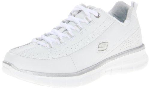 Skechers 11798 Sneaker Synergy- Elite Status, Donna, Bianco/Argento, 38