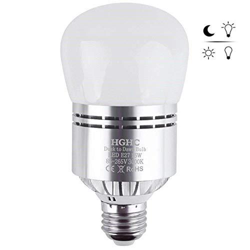 Lampadina LED Sensore, 15W E27 Lampadine con crepuscolare sensore di luce Bianco caldo 3000K Automatico On/Off per Corridoio, cortile, patio