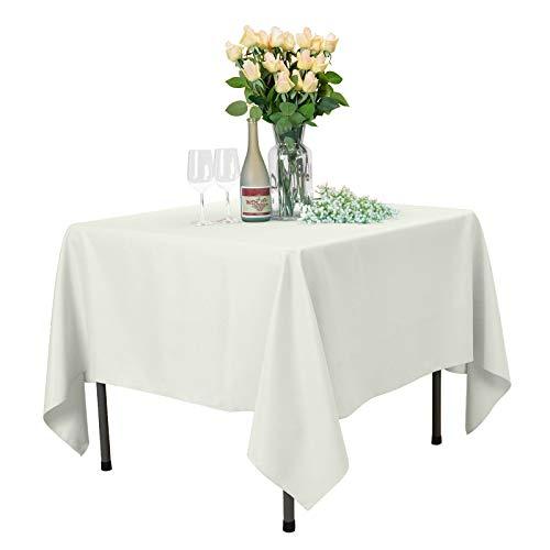 Veeyoo tonda rettangolare quadrato solido poliestere tovaglia matrimonio ristorante party tovaglia, tessuto, ivory, square-178 x 178 cm