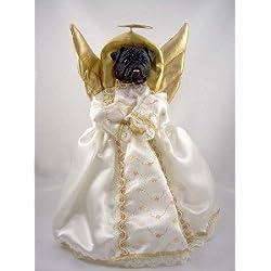 Negro Pug ángel para árbol de Navidad