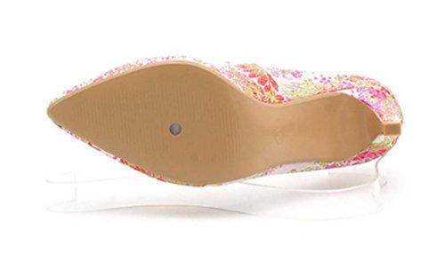 Cinesi Aggraziati Tacchi A Punta Estate Nuove Scarpe Ricamate Panno Bocca Superficiale Tacchi Alti Scarpe Scarpe Da Sposa Splendida Multi-colored