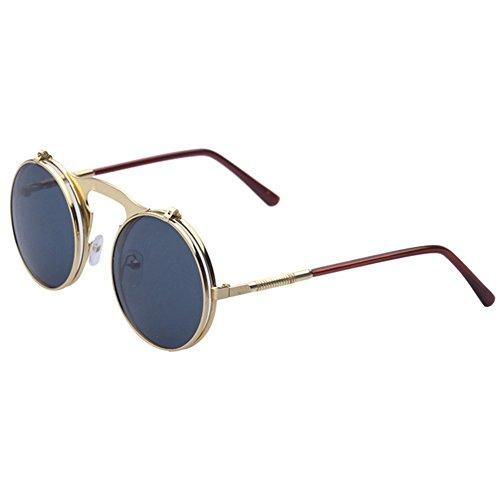 Highdas Steam Punk Sunglasses Gothic Vintage personnalit¨¦ Clamshell Lunettes Homme Femme ronde en m¨¦tal Shades C2 M1i2mzA