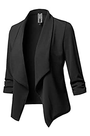 114dce1cdc5 Zamtapary Womens Casual Open Front Slim Solid Office Short Blazers ...