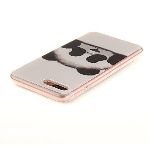 XiaoXiMi iPhone 7 Hülle Gel Gummi Silikon Schutzhülle für iPhone 7 Soft TPU Silicone Case Cover Weiche Flexible Schale Schlanke Glatte Tasche Ultra Dünne Leichte Etui Kratzfeste Stoßfeste Handyhülle m Niedlichen Panda