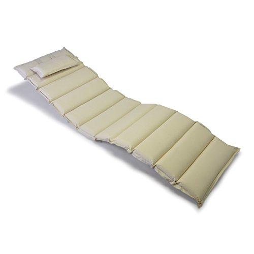 Hochwertige Liegen-Auflage Sitz-Polster mit Kopfkissen für Sonnenliegen Sauna Garten Terrasse Camping, feste Qualität, dick bequem wasserabweisend abwaschbar aufrollbar, creme