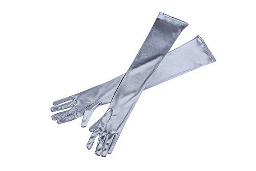 Graue lange Satin elegante Vintage Opera Party Handschuhe-anspruchsvolle Silber -