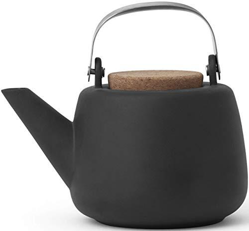 VIVA scandinavia Teekanne Porzellan Abnehmbare Sieb Schwarz : tropffrei, mit edlen Griff, für Lose Tee, 1.3L
