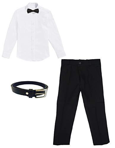 Black & White KOM Plus: Jungen Hemd, Hose, Gürtel, Fliege, Weiß/Schwarz, 6 Jahre / Größe 122 -