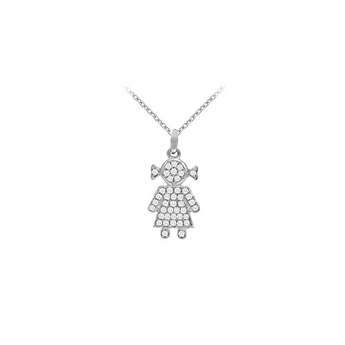 14K White Gold Diamond Baby Doll Pendant Necklace 0.25 CT TDW