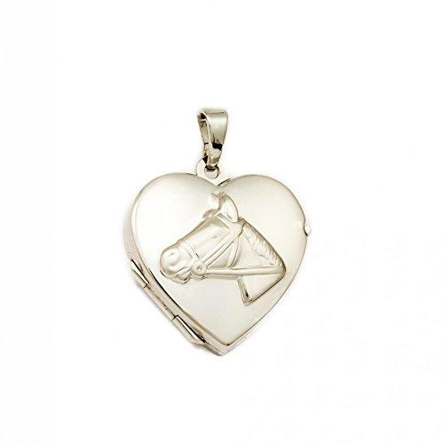 ASS 925 plata medallón colgante corazón de cabeza de caballo foto, rodio plateado