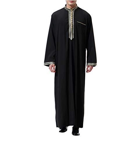 Mann Kostüm Arabische - KRUIHAN Abaya Männer Muslimische Kleider Kaftan - Islamische Kleidung Herren Islamische Kostüm (Schwarz,M)