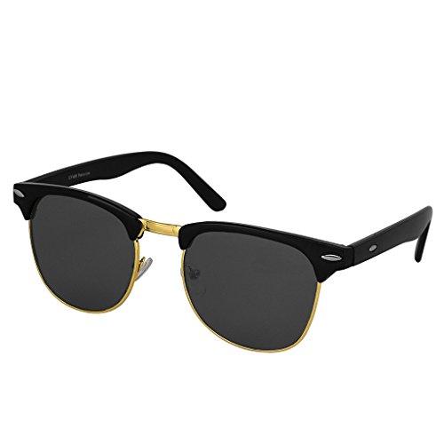 Hupshy Wayfarer Sunglasses (Black) Golden Frame, UV Protected Sunglasses
