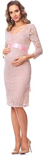 Be Mammy Damen Umstandskleid Maternity Schwangerschaftskleid BE20-170 (Puderrosa) - 4