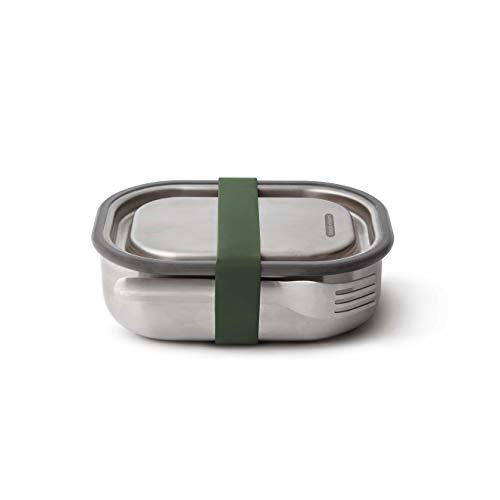 black+blum Edelstahl Lunchbox, olive,auslaufsichere 3in1 Multifunktions-Box mit Vakuumventil, Teiler und Gabel. 100% plastikfrei. Maße: 20 x 15 x 6,5 cm -