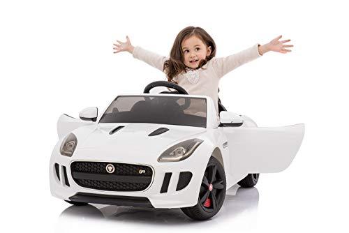 Toyas Jaguar F Type Kinder Elektro Auto Sportwagen Cabriot Kinderfahrzeug 12V Weiß