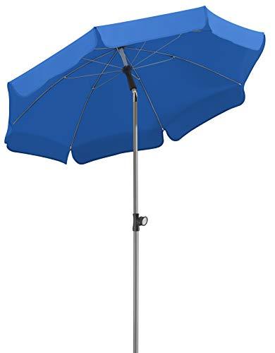 Schneider Parasol Locarno, Bleu Royal, env. 150 cm Ø, en 8 Parties, Rond, 150x150x220 cm