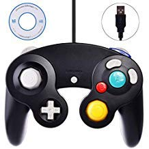 Preisvergleich Produktbild Gamecube Controller USB,  klassisches Gamecube USB Wired Controller Gamepad für PC Windows und Mac,  Schwarz
