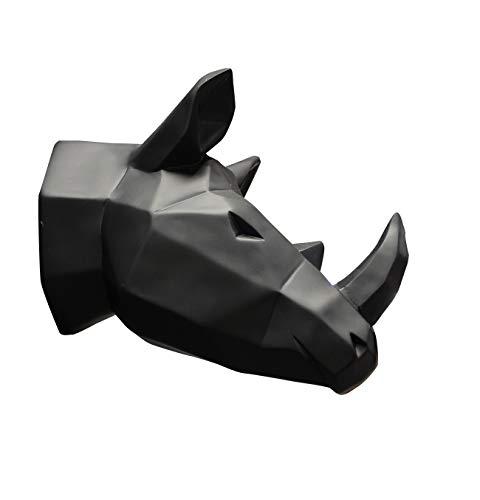Meubletmoi Tête rhinocéros Noir Mat décoration Murale - Style cubique - Objet Design Moderne