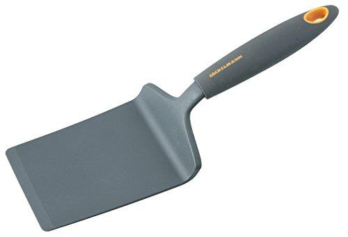 Fackelmann Lasagneheber 28 cm SOFT, Küchenhelfer mit Funktionsteil aus Kunststoff, Pizzaheber für beschichtete Töpfe und Pfannen (Farbe: Orange/Grau), Menge: 1 Stück