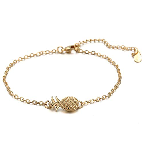 Garispace Ananas Anhänger Armband Kreative Obst Thema Armband Frauen Armreif Charme Armbänder Für Frauen Männer Partei Schmuck Geschenk(Platin)