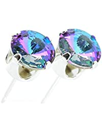 pewterhooter 925 Sterling Silver stud earrings for women made with sparkling Starlight crystal from Swarovski®. London gift box. Hypoallergenic & Nickle Free Jewellery for Sensitive Ears.