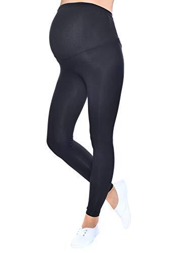 Mija - Qualität Komfortable UmstandsLeggings für Schwangere Lange Hose 1042 (XL/XXL, Schwarz)