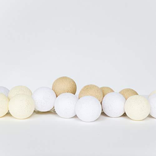 KANDI - Bunte Girlande - Baumwollball Girlande - Cotton Balls Girlande - Dekoration Kinderzimmer Mädchen- Ballgirlande für Hochzeiten & Jubiläen - Sichere LED-Nutzung - Wohnaccessoires von Happy Lights
