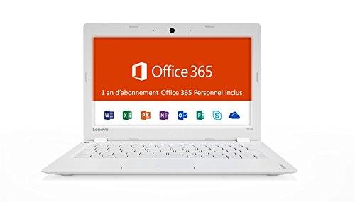 Lenovo Ideapad 110S-11IBR Ordinateur Portable 11,6' Blanc  (Intel Celeron, 2 Go  de RAM, SSD 32 Go, Windows 10) + Abonnement Microsoft office 365 inclus