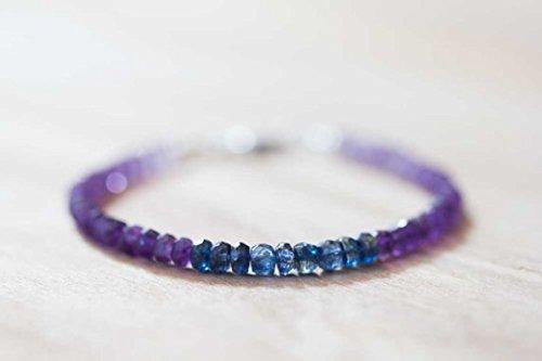 Ametista braccialetto con kyanite, braccialetto di pietra di febbraio, shaded cianite ametista gioielli, gioielli, blu viola in rilievo bracciale da 4–4.5mm 17,8cm