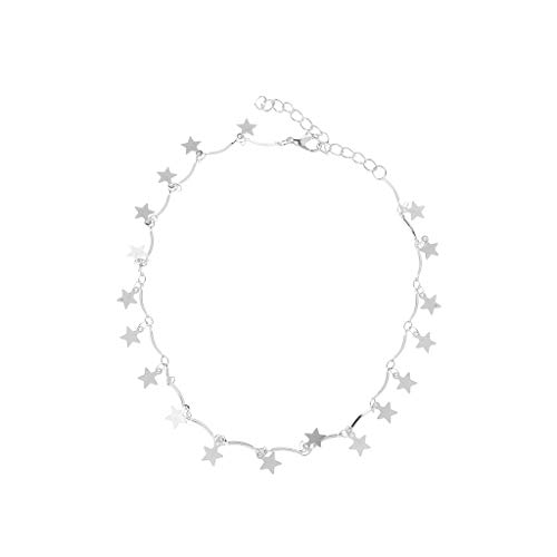 Falling Stars Sequins Chokers Metal Dangle Star Short Collarbone Necklace Women -