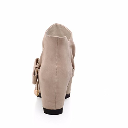 Inside rising short boots, winter boots, large yards, suede, high heels Beige