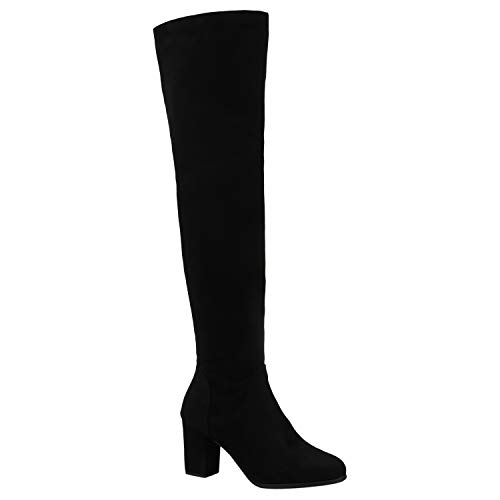 Stiefelparadies Modische Damen Stiefel Profil Sohle Overknees Block Absatz 172576 Schwarz Cabanas 36 Flandell -