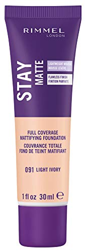 Rimmel 091 London Stay Matte Liquid Mousse Foundation Fond de teint mousse matifiant, teinte 091 Light Ivory, 30 ml