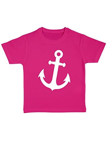 clothinx Kinder T-Shirt Bio Karneval Anker Pink/Weiß Größe (Kinder Matrosen Kostüm)
