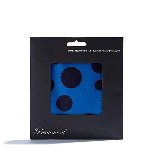 """Beaumont """"Blue Polka Dot"""" Mikrofaser-Tuch Reinigungstuch extra fein Instrumente Poliertuch Messing Silber 25x25cm Wischtusch Putztuch Trompete Sax Querflöte Klarinette"""