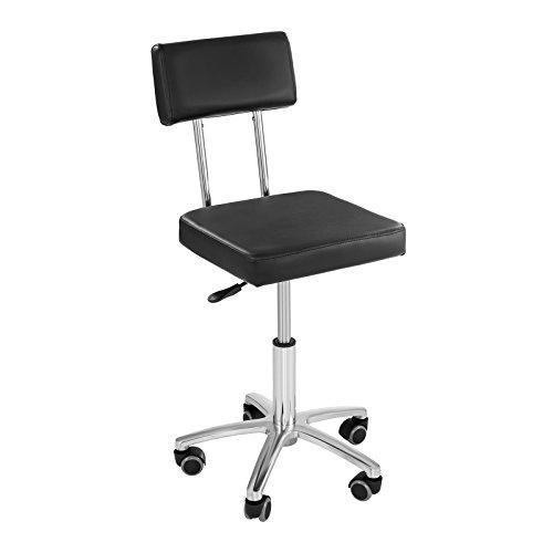 Physa monza sedia da lavoro sedia barbiere sedia parrucchiere poltrona barbiere con ruote (altezza 45–59 cm, supporto acciaio, imbottitura ecopelle) nera