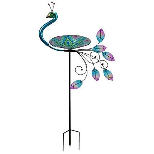 garden mile® Vogeltränke aus Glas, Pfauenmotiv, mit Stab, bunt, handbemalt, exotische Glasschale, einfach zu montieren, für den Garten