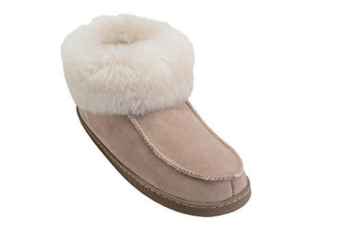 Warmem Schaffell Mit Hausschuhe Herren Beige Damen Luxus Wolle Weiß Manschette 4qwaPEX