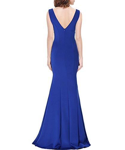 KAXIDY Col V Robes de Soirée Longues Femme Robe Cérémonie Robe de Mariée Robe Cocktail Bleu