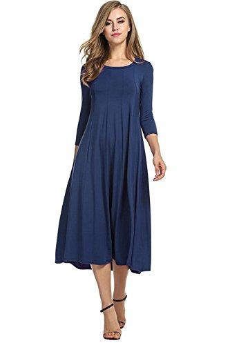 Laorchid Damen Pleated Kleid Skater Schwing 3/4 Ärmel A-Linie Lose Midi Kleid Weihnachten Festliches Blau XL (Kleider Damen Für Weihnachten)