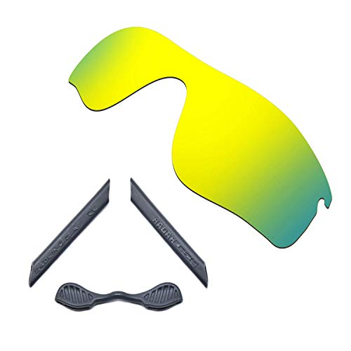 HKUCO For Oakley Radarlock Path 24K Gold Polarized Replacement Lenses And Grey Earsocks Rubber Kit